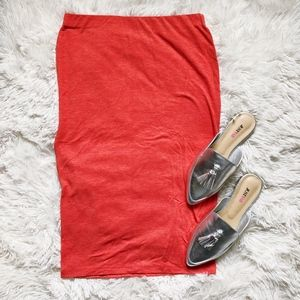 FOREVER21 burnt orange elastic waist midi skirt